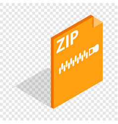 Archive zip format isometric icon vector