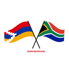 Artsakh and south africa flags crossed and waving vector