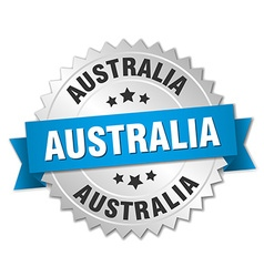 Australia round silver badge with blue ribbon vector image