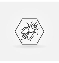 Bee in hexagon logo vector image