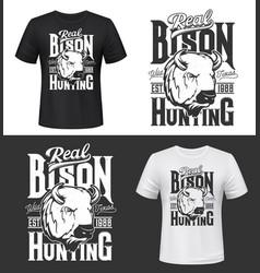 bit trophy bison hunting retro t-shirt prints vector image