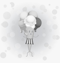 Black-and-white poster - humanoid waffle ice vector