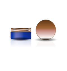 blank blue cosmetic round jar with copper lid vector image