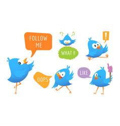 blue bird messages cartoon animal with speech vector image