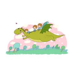 Boy and dinosaur the prince flies vector