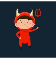 Boy in red devil halloween disguise vector