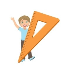 Boy In School Uniform With Giant Triangle Ruler vector