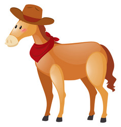 brown pony wearing cowboy hat vector image