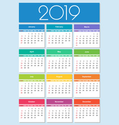 calendar 2019 year colorful set vector image