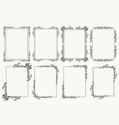 calligraphic frame set borders corners ornate vector image