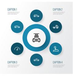 car outline icons set collection of hatchback vector image