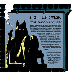 cat woman in comic - cartoon style vector image