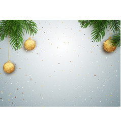 Christmas background with tree branches and vector