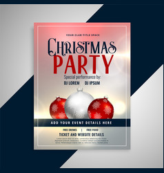 christmas party invitation flyer template design vector image
