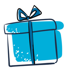 Clipart a blue gift box or color vector