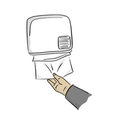 close-up hand using paper dispenser on the wall vector image