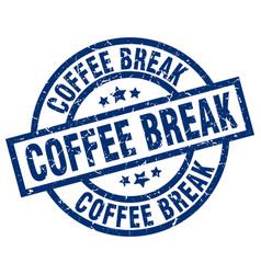 Coffee break blue round grunge stamp vector