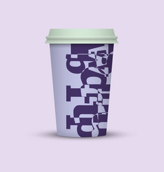 Coffee cup with creative letters blue plastic vector