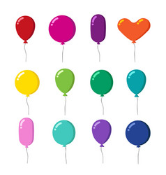 Color rubber flying cartoon balloons with string vector