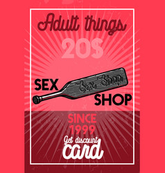 Color vintage sex shop banner vector