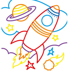 coloring book of rocket on cosmic vector image