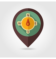 Compass retro flat pin map icon Weather vector image