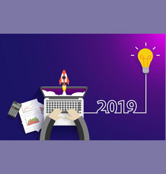 creative light bulb idea 2019 new year startup vector image