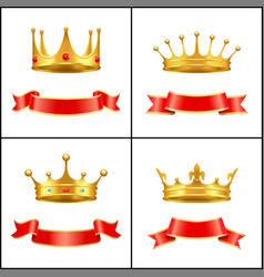 crown regal power and banner vector image