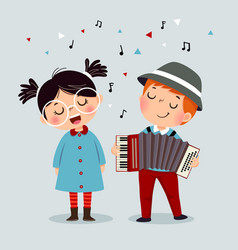 cute boy playing accordion and little girl singing vector image