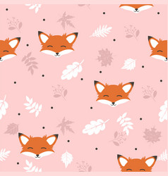 cute fox with leaves decoration seamless pattern vector image
