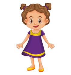 Cute girl in purple dress vector