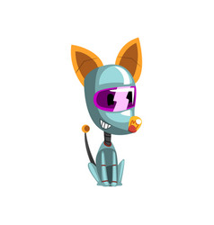 Cute robot dog sitting on the floor artificial vector