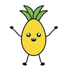 Delicious pineapple fruit kawaii character vector
