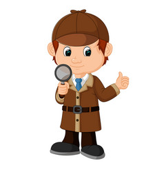Detective boy cartoon vector