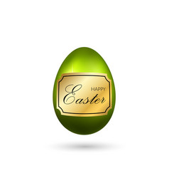 easter egg 3d icon green egg with gold frame vector image