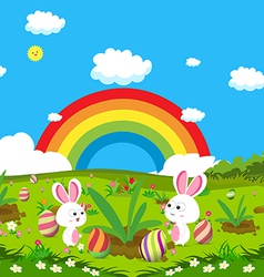 Easter eggs spring fresh grass and bunny vector