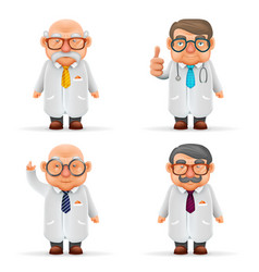 experienced doctors team 3d realistic cartoon vector image