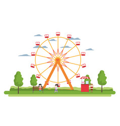 Ferris wheel mechanical and children with shop vector