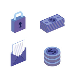 Finacial transaction isometric set icons vector