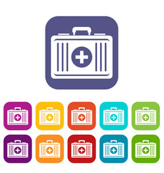 First aid icons set flat vector