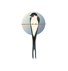Flat icon of martlet sitting on tree branch vector