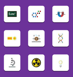 Flat icon study set of molecule theory of vector
