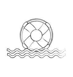 float lifeguard with sea waves vector image