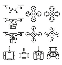 Flying drone flat line style icons on white vector