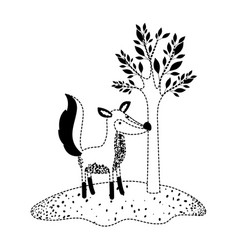 fox cartoon next to the tree in black dotted vector image
