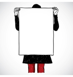 Girl holding an board vector image