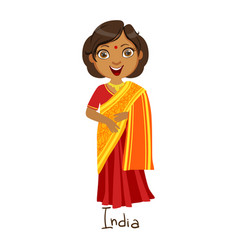 Girl in india country national clothes wearing vector