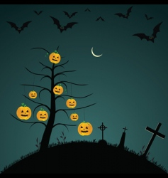 Halloween background with bats pumpkins vector image