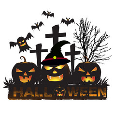 halloween background with three pumpkin ghost vector image