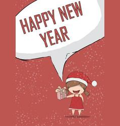 Happy new year girls santa cute christmas vector